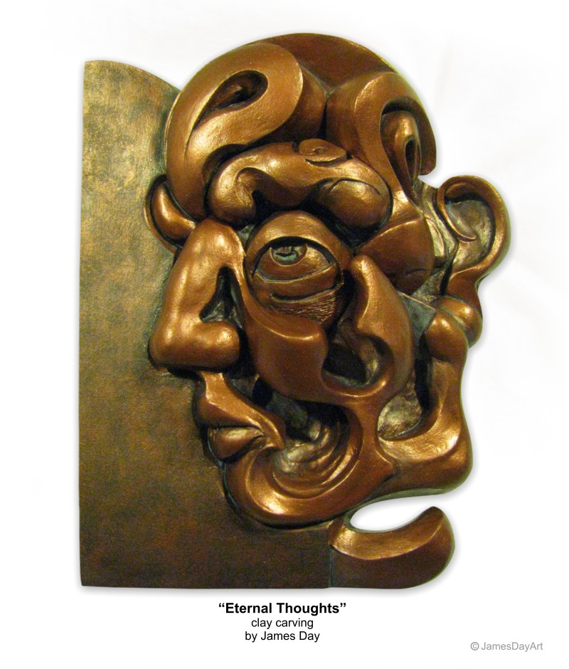 Eternal Thoughts - clay carving by James Day